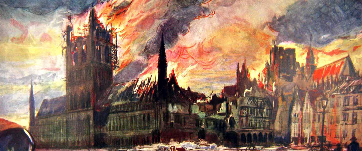 The Cloth Hall and Cathedral in fire